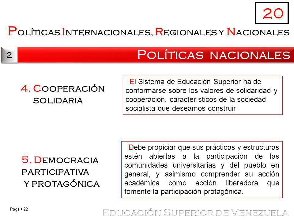 20 Políticas internacionales, regionales y nacionales