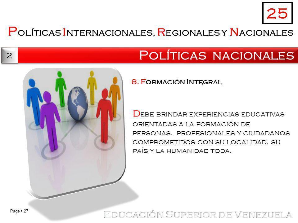25 Políticas internacionales, regionales y nacionales