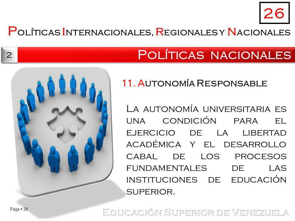 26 Políticas internacionales, regionales y nacionales