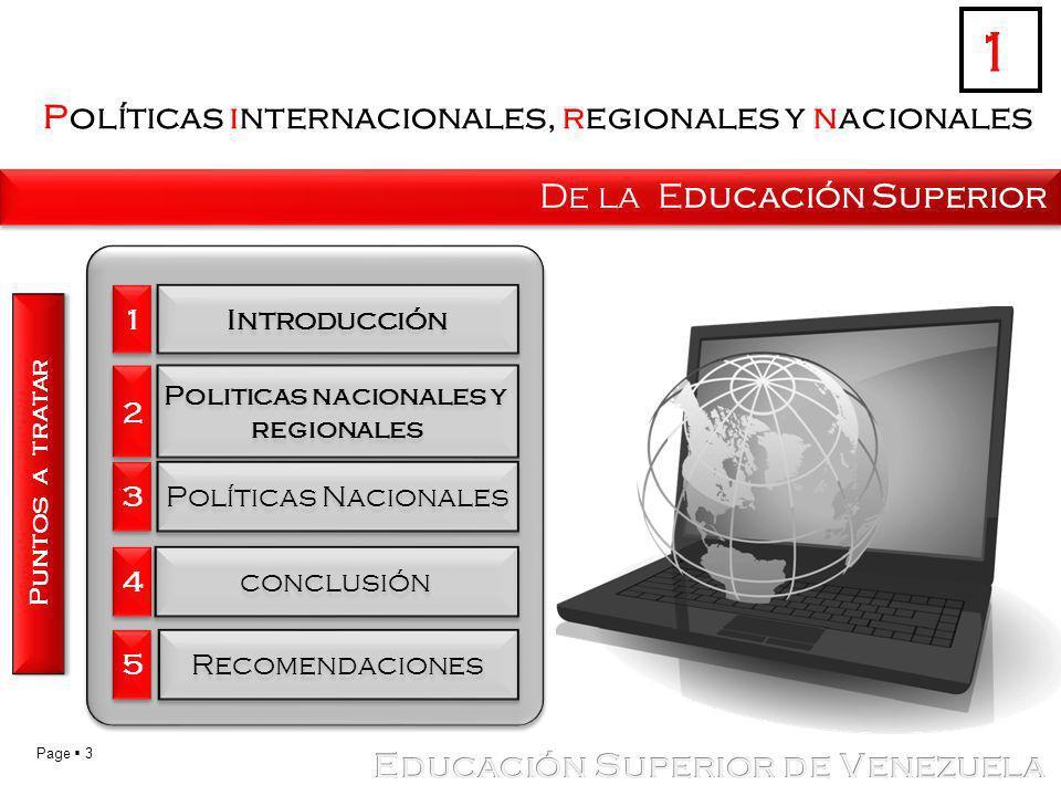 Políticas internacionales, regionales y nacionales
