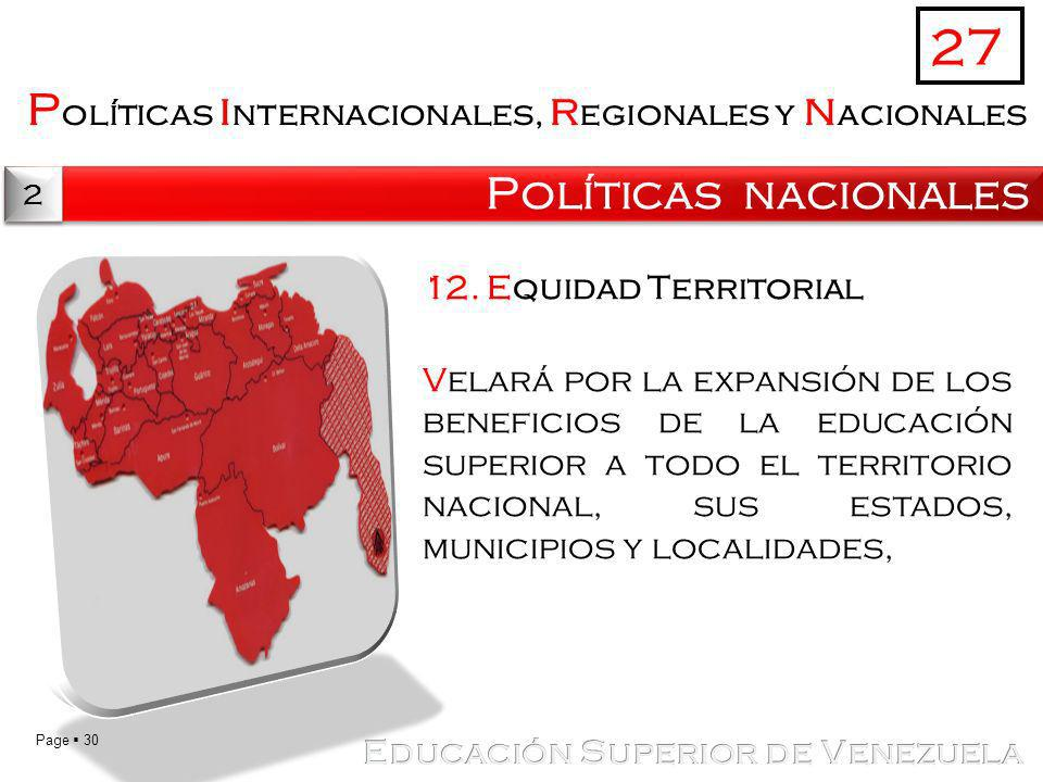 27 Políticas internacionales, regionales y nacionales