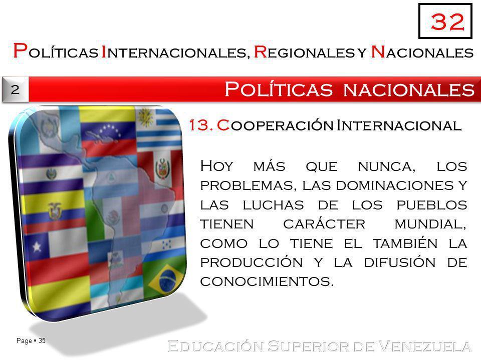 32 Políticas internacionales, regionales y nacionales