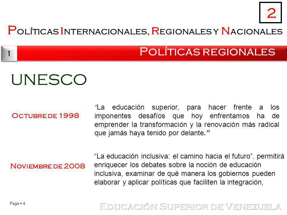 UNESCO 2 Políticas internacionales, regionales y nacionales