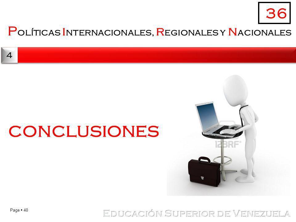 conclusiones 36 Políticas internacionales, regionales y nacionales