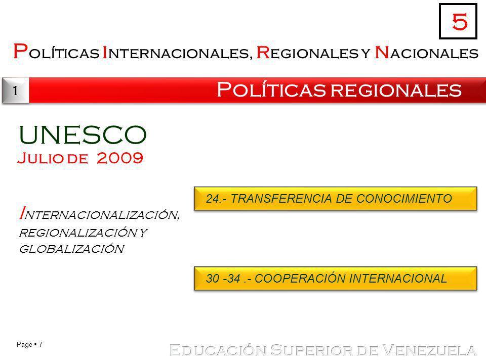 UNESCO 5 Políticas internacionales, regionales y nacionales