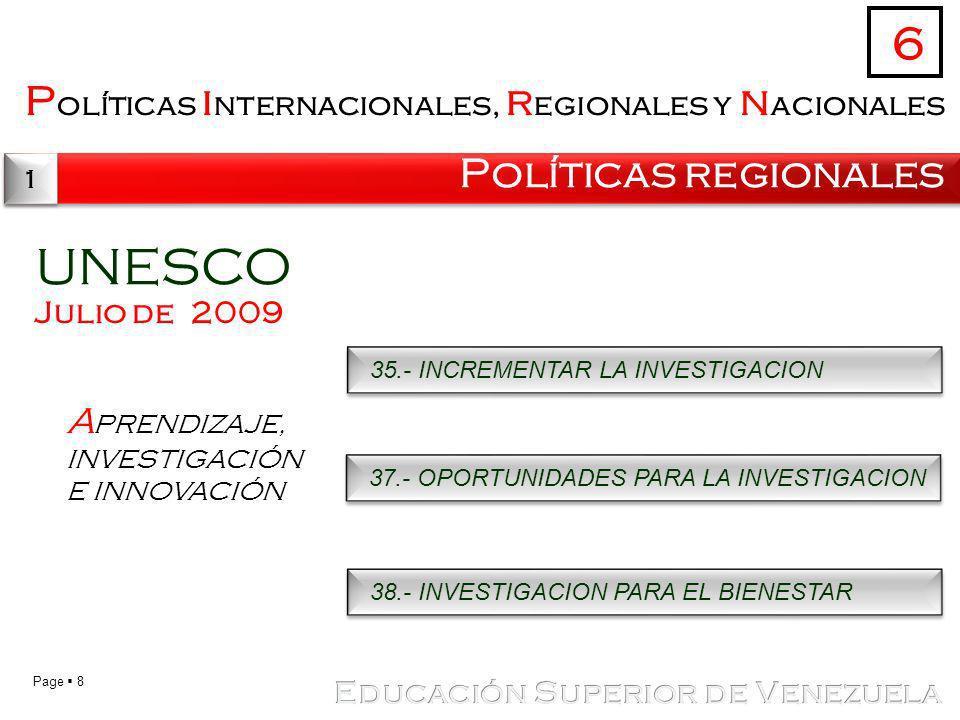 UNESCO 6 Políticas internacionales, regionales y nacionales