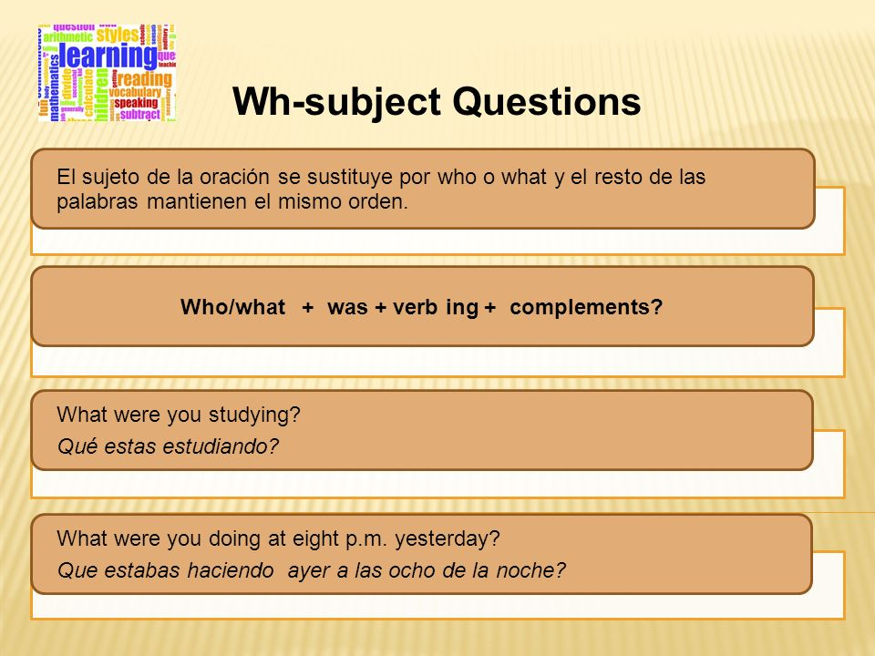 Who/what + was + verb ing + complements