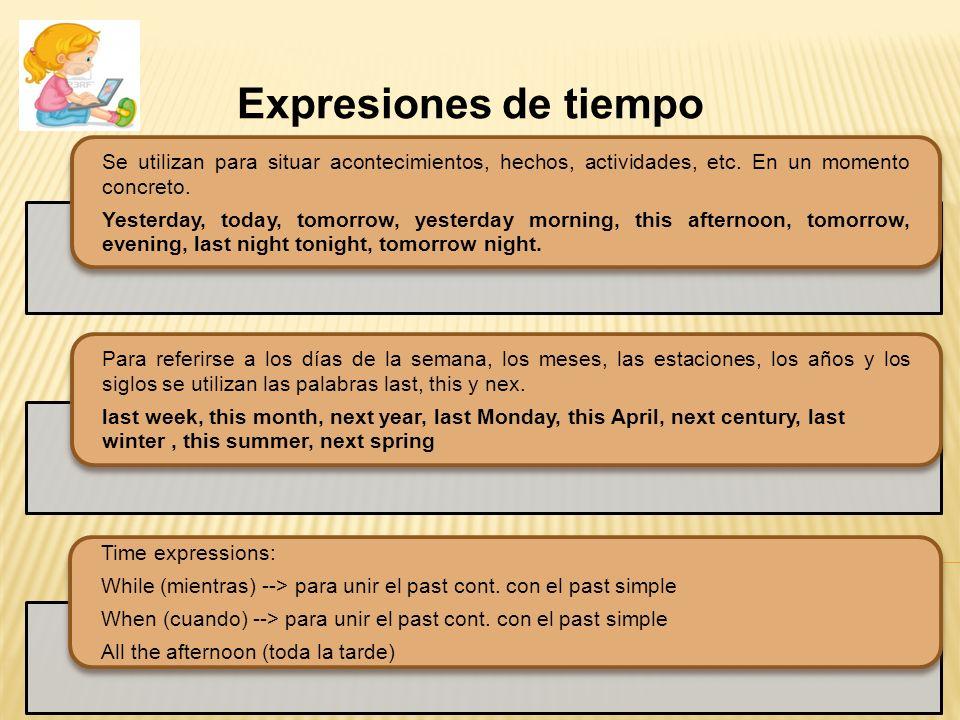Expresiones de tiempo Se utilizan para situar acontecimientos, hechos, actividades, etc. En un momento concreto.