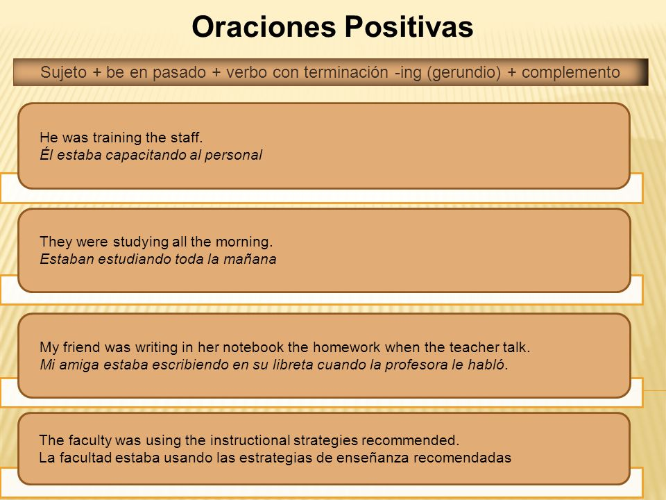 Oraciones Positivas Sujeto + be en pasado + verbo con terminación -ing (gerundio) + complemento. He was training the staff.