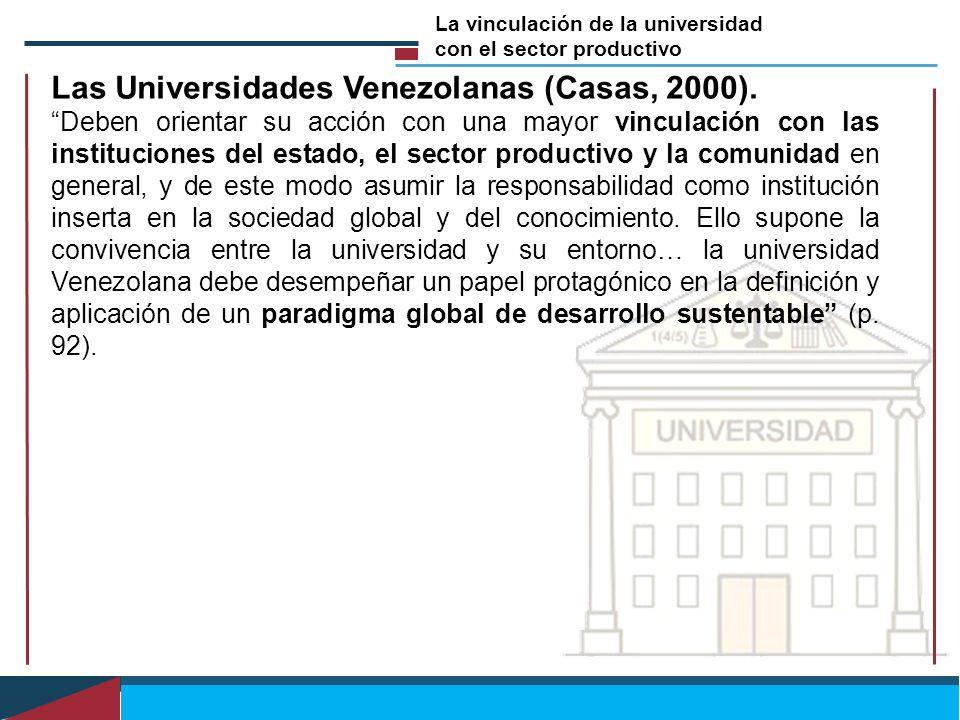 Las Universidades Venezolanas (Casas, 2000).
