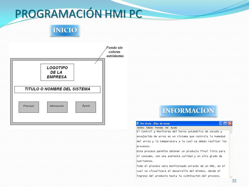PROGRAMACIÓN HMI PC INICIO INFORMACÍON