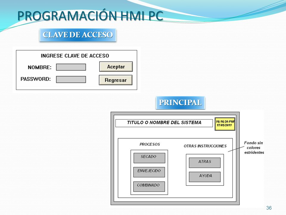 PROGRAMACIÓN HMI PC CLAVE DE ACCESO PRINCIPAL