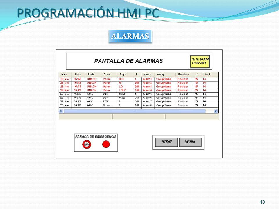 PROGRAMACIÓN HMI PC ALARMAS