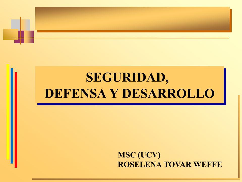 SEGURIDAD, DEFENSA Y DESARROLLO
