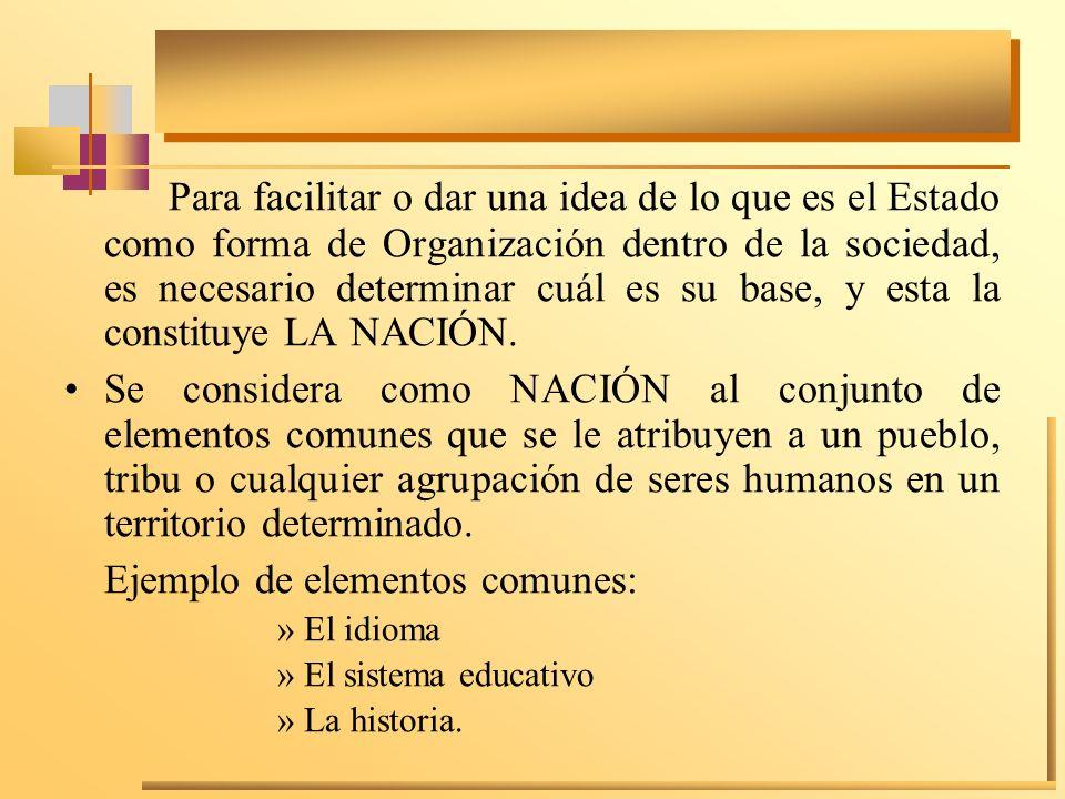 Para facilitar o dar una idea de lo que es el Estado como forma de Organización dentro de la sociedad, es necesario determinar cuál es su base, y esta la constituye LA NACIÓN.