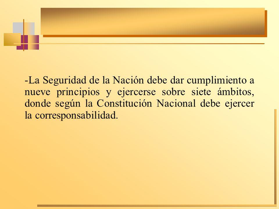 La Seguridad de la Nación debe dar cumplimiento a nueve principios y ejercerse sobre siete ámbitos, donde según la Constitución Nacional debe ejercer la corresponsabilidad.
