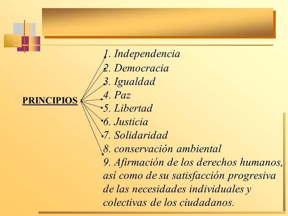 1. Independencia 2. Democracia 3. Igualdad 4. Paz 5. Libertad 6