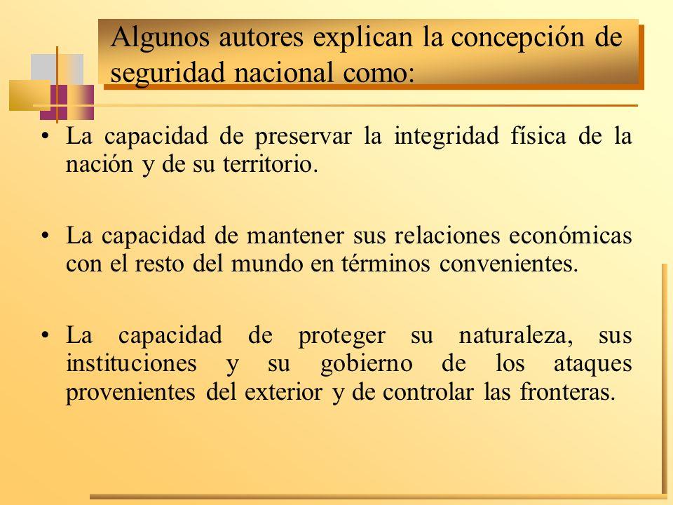 Algunos autores explican la concepción de seguridad nacional como: