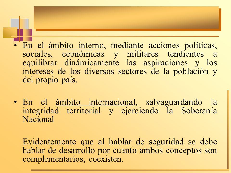 En el ámbito interno, mediante acciones políticas, sociales, económicas y militares tendientes a equilibrar dinámicamente las aspiraciones y los intereses de los diversos sectores de la población y del propio país.