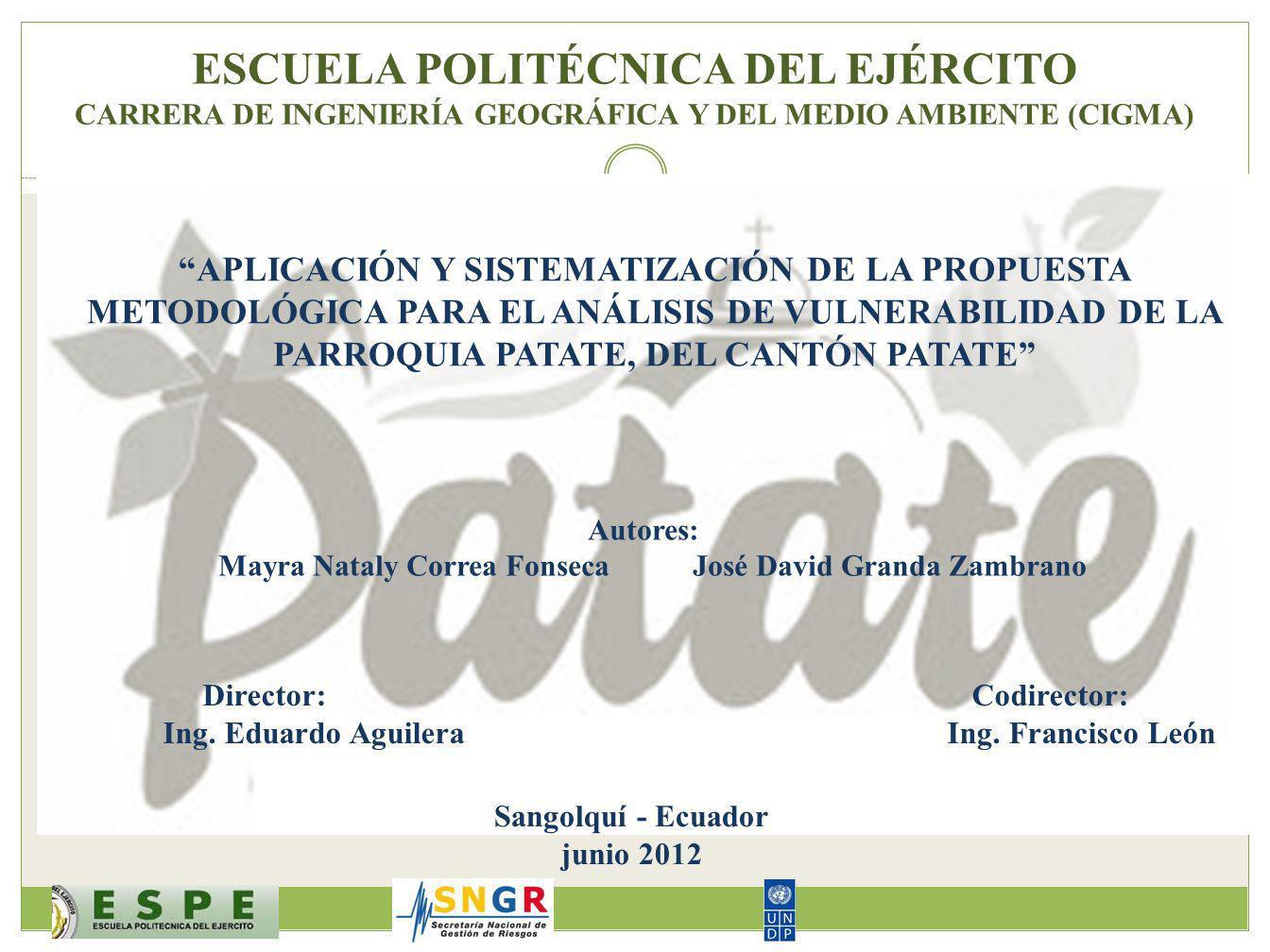 ESCUELA POLITÉCNICA DEL EJÉRCITO CARRERA DE INGENIERÍA GEOGRÁFICA Y DEL MEDIO AMBIENTE (CIGMA)