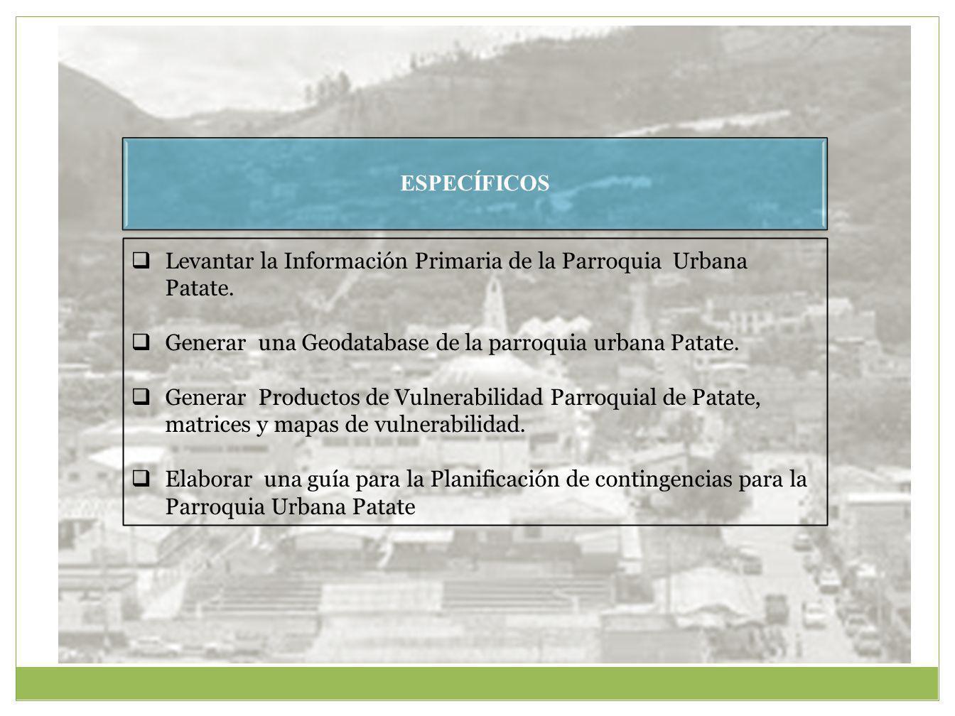 ESPECÍFICOS Levantar la Información Primaria de la Parroquia Urbana Patate. Generar una Geodatabase de la parroquia urbana Patate.