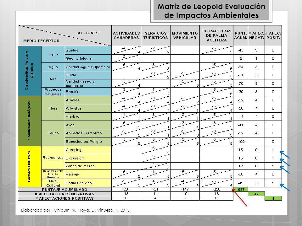 Matriz de Leopold Evaluación de Impactos Ambientales