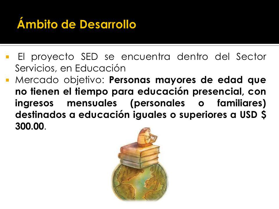 Ámbito de Desarrollo El proyecto SED se encuentra dentro del Sector Servicios, en Educación.