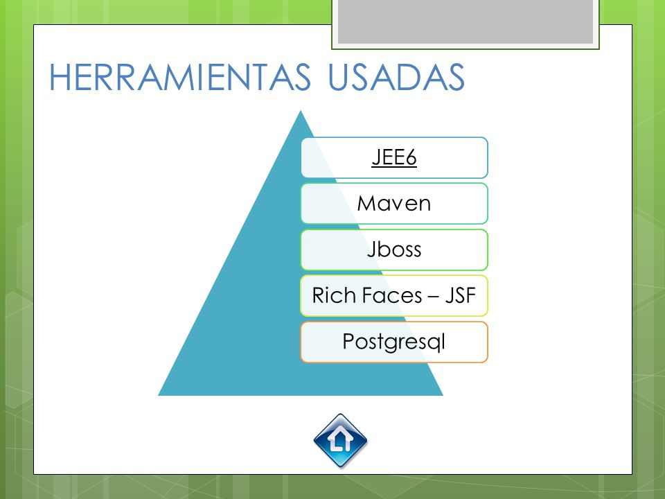 HERRAMIENTAS USADAS JEE6 Maven Jboss Rich Faces – JSF Postgresql