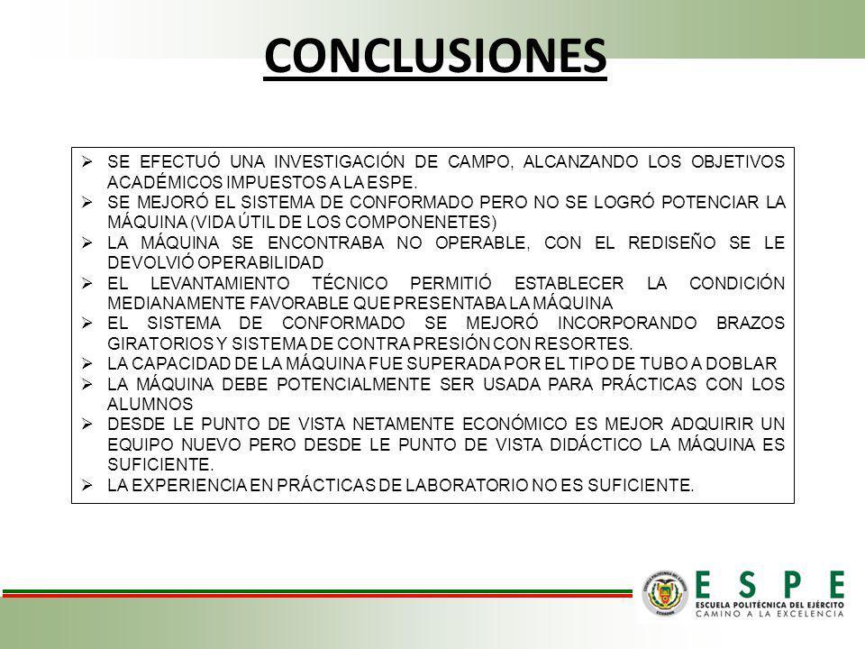 CONCLUSIONES SE EFECTUÓ UNA INVESTIGACIÓN DE CAMPO, ALCANZANDO LOS OBJETIVOS ACADÉMICOS IMPUESTOS A LA ESPE.