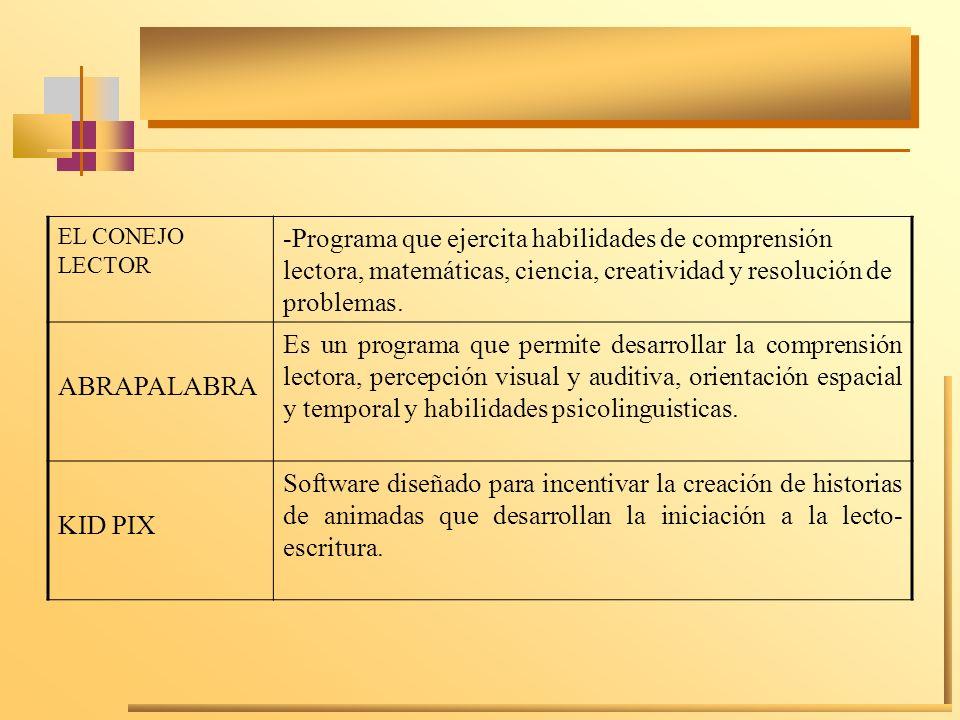 EL CONEJO LECTOR-Programa que ejercita habilidades de comprensión lectora, matemáticas, ciencia, creatividad y resolución de problemas.