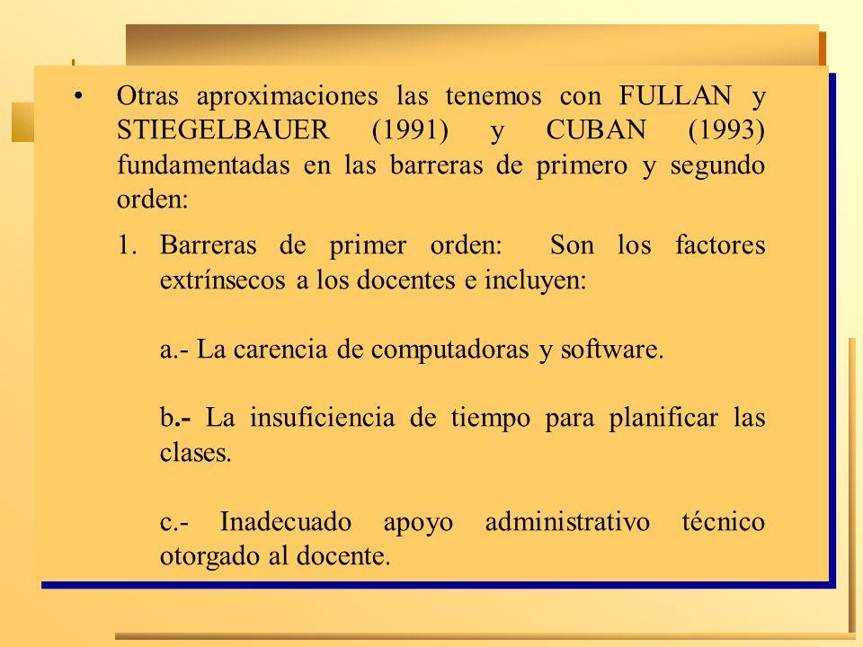 Otras aproximaciones las tenemos con FULLAN y STIEGELBAUER (1991) y CUBAN (1993) fundamentadas en las barreras de primero y segundo orden: