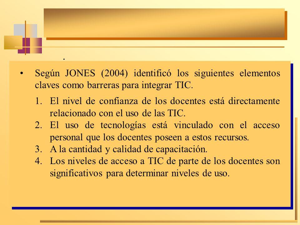 .Según JONES (2004) identificó los siguientes elementos claves como barreras para integrar TIC.