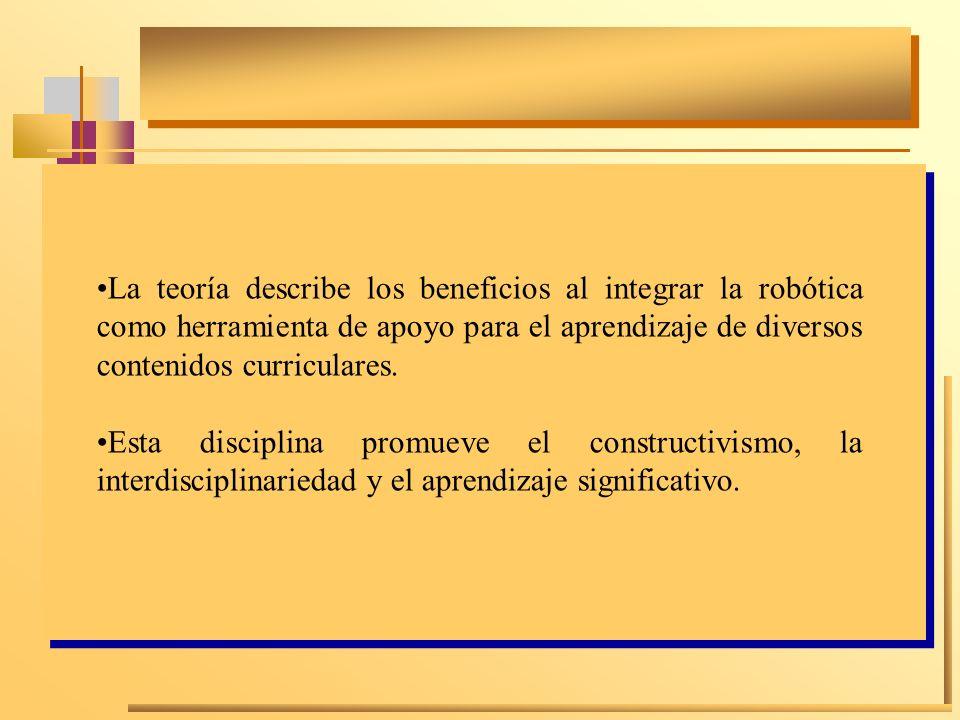 La teoría describe los beneficios al integrar la robótica como herramienta de apoyo para el aprendizaje de diversos contenidos curriculares.