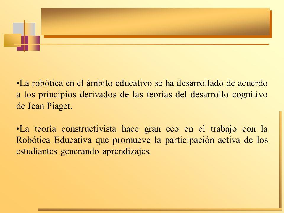 La robótica en el ámbito educativo se ha desarrollado de acuerdo a los principios derivados de las teorías del desarrollo cognitivo de Jean Piaget.