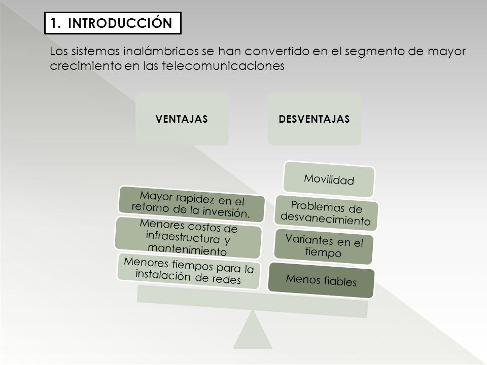 INTRODUCCIÓN Los sistemas inalámbricos se han convertido en el segmento de mayor crecimiento en las telecomunicaciones.