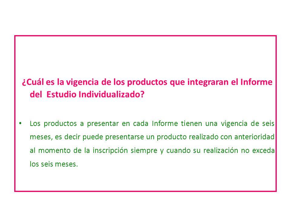 ¿Cuál es la vigencia de los productos que integraran el Informe del Estudio Individualizado