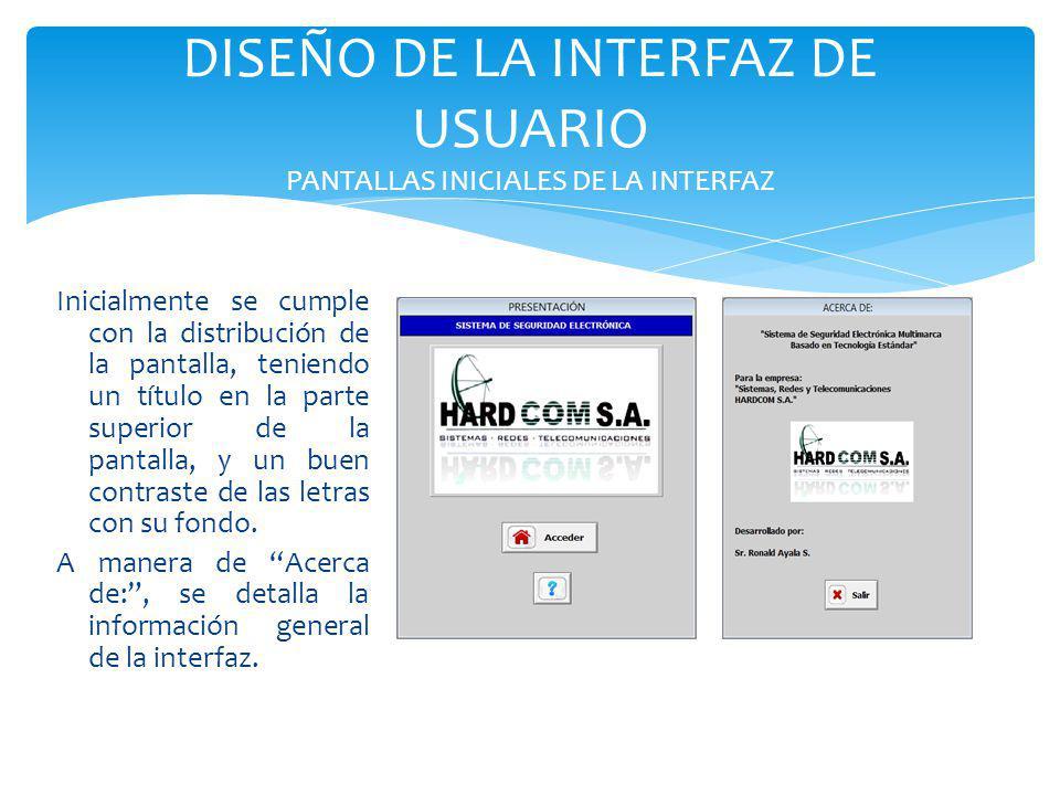 DISEÑO DE LA INTERFAZ DE USUARIO PANTALLAS INICIALES DE LA INTERFAZ