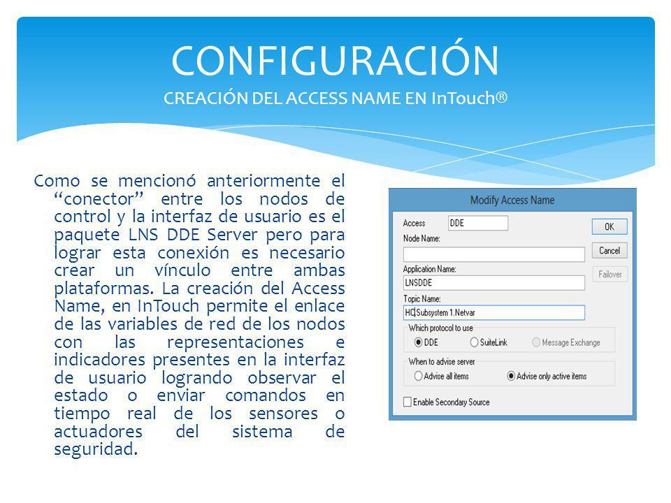 CONFIGURACIÓN CREACIÓN DEL ACCESS NAME EN InTouch®