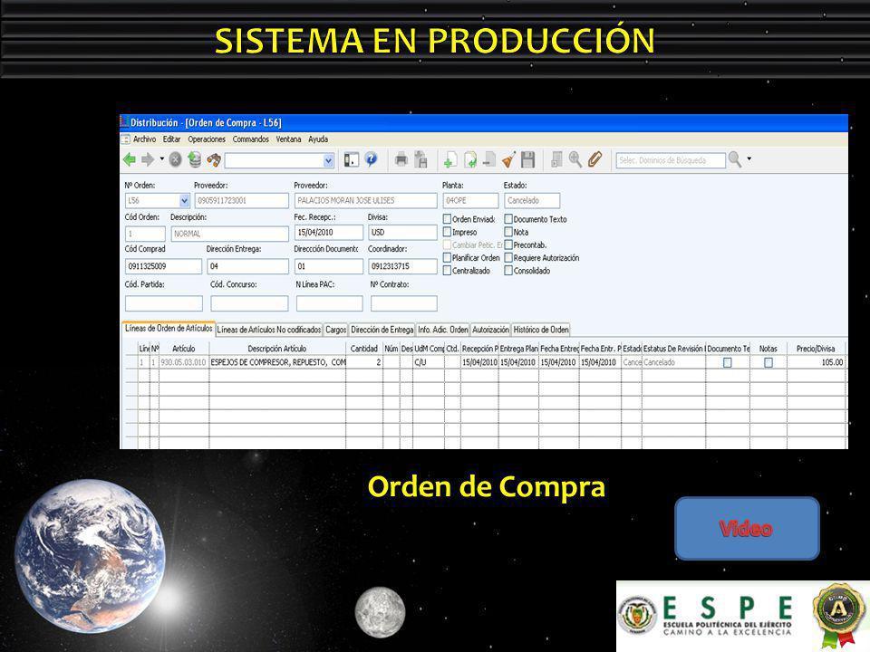 SISTEMA EN PRODUCCIÓN Orden de Compra Video