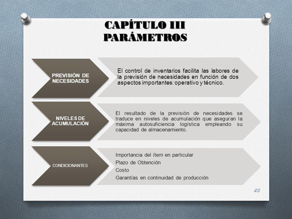 PREVISIÓN DE NECESIDADES NIVELES DE ACUMULACIÓN