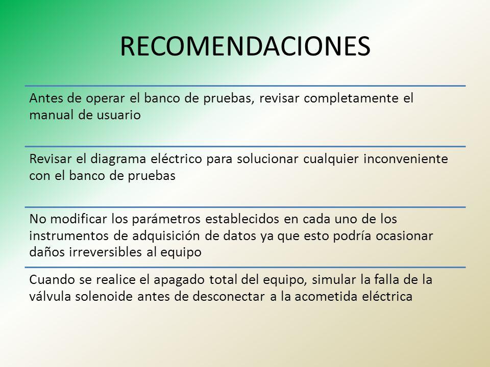 RECOMENDACIONES Antes de operar el banco de pruebas, revisar completamente el manual de usuario.