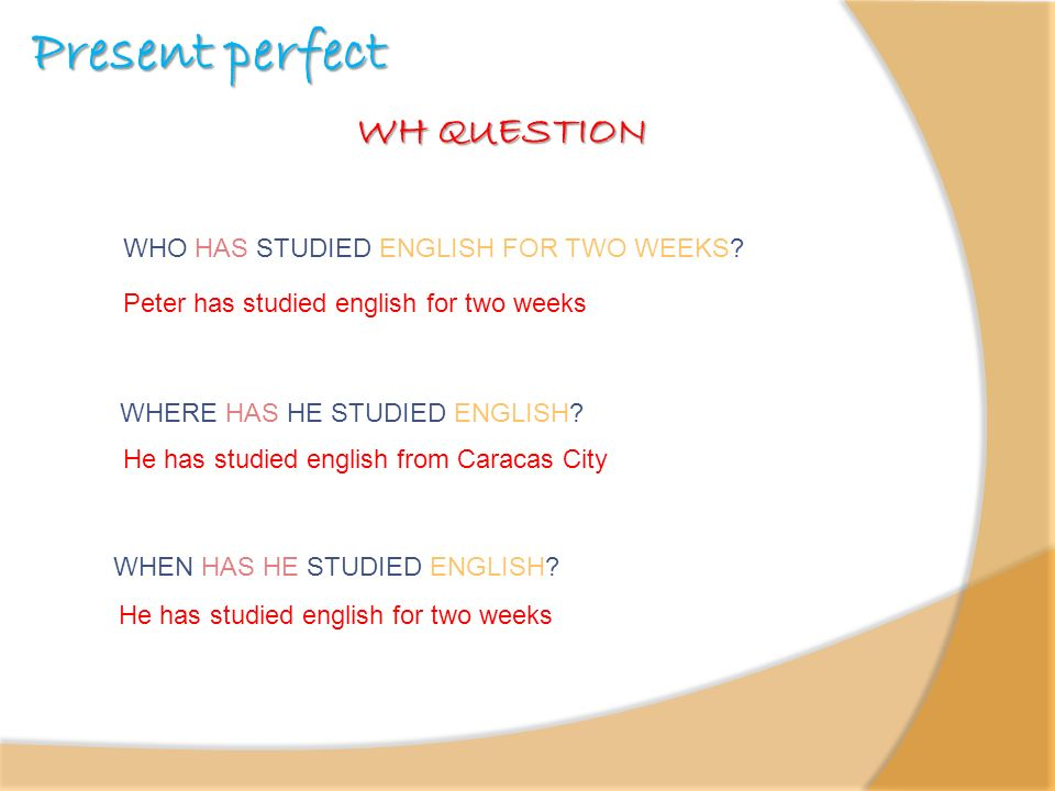 Present perfect WH QUESTION WHO HAS STUDIED ENGLISH FOR TWO WEEKS