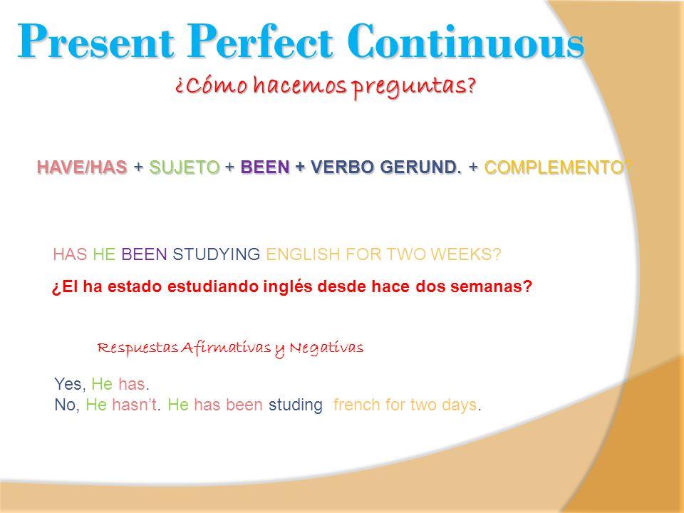 Present Perfect Continuous ¿Cómo hacemos preguntas