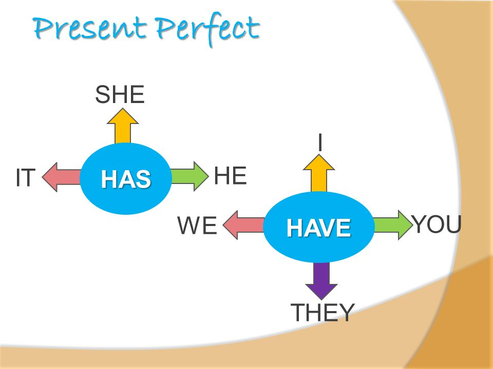 Present Perfect SHE I HAS IT HE HAVE WE YOU THEY