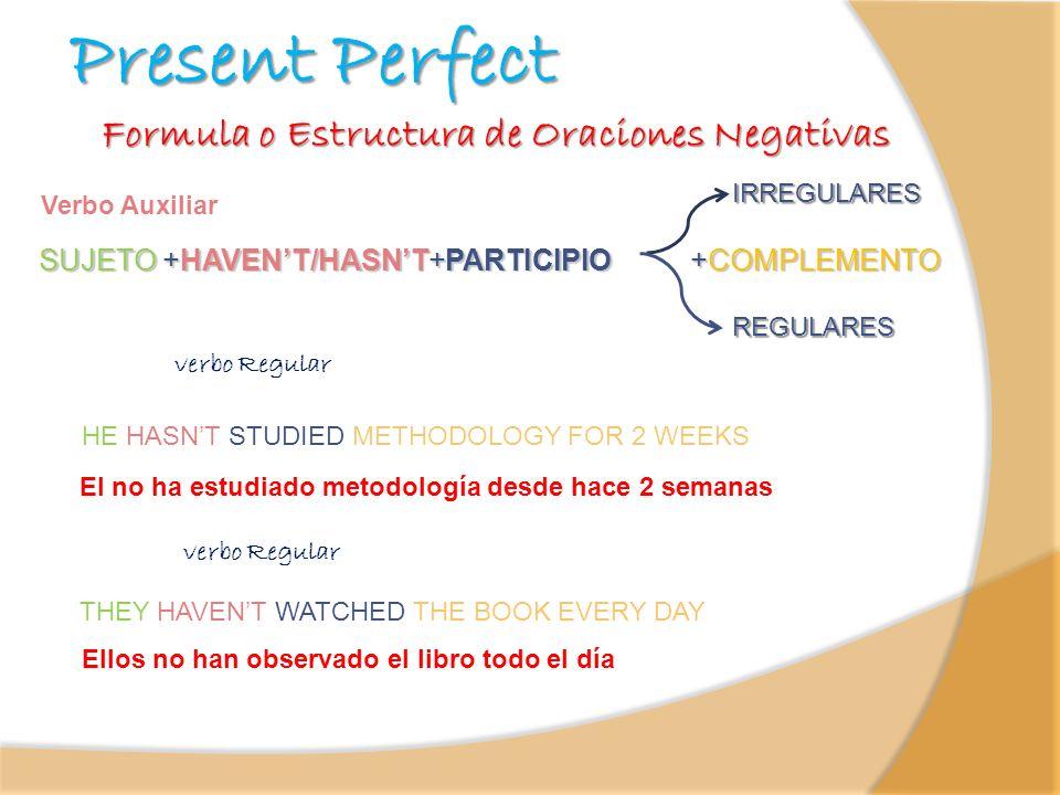Formula o Estructura de Oraciones Negativas