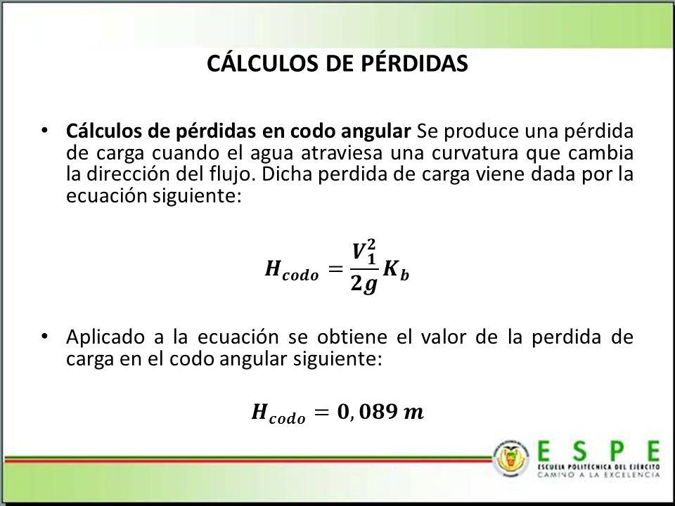 CÁLCULOS DE PÉRDIDAS