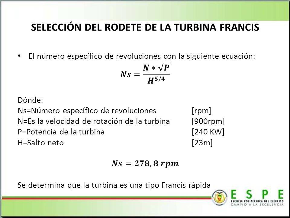 SELECCIÓN DEL RODETE DE LA TURBINA FRANCIS