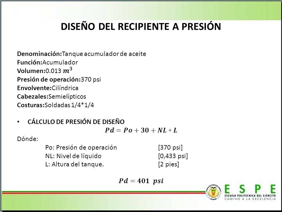 DISEÑO DEL RECIPIENTE A PRESIÓN