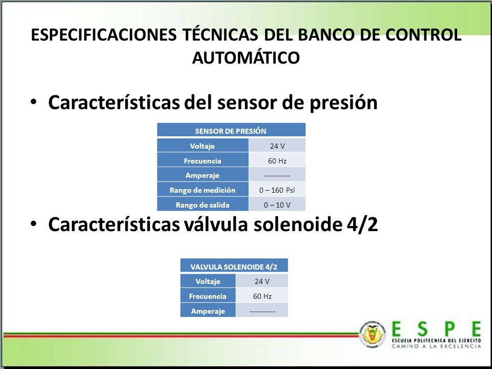 ESPECIFICACIONES TÉCNICAS DEL BANCO DE CONTROL AUTOMÁTICO