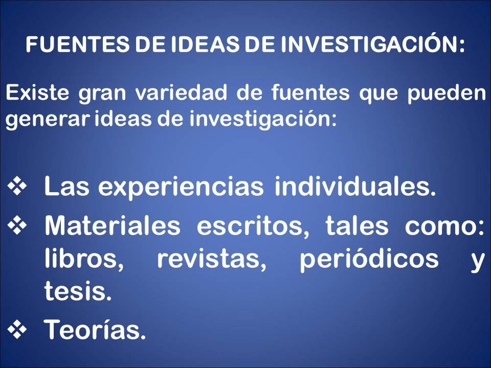 FUENTES DE IDEAS DE INVESTIGACIÓN: